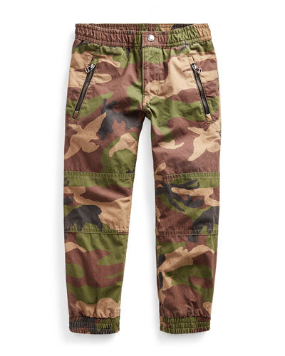 Cotton Poplin Camo-Print Jogger Pants  Size 2-4