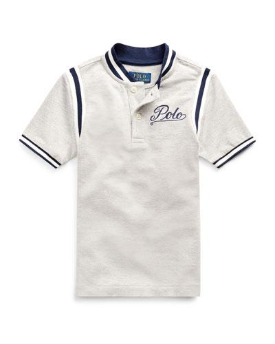 Mesh Knit Striped-Trim Shirt w/ Logo Embroidery  Size 2-4