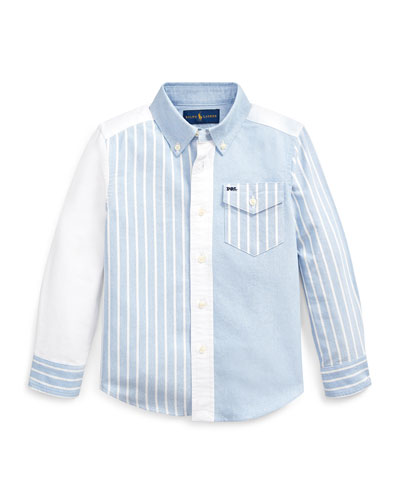 Patchwork Oxford Button-Down Collar Shirt  Size 2-4