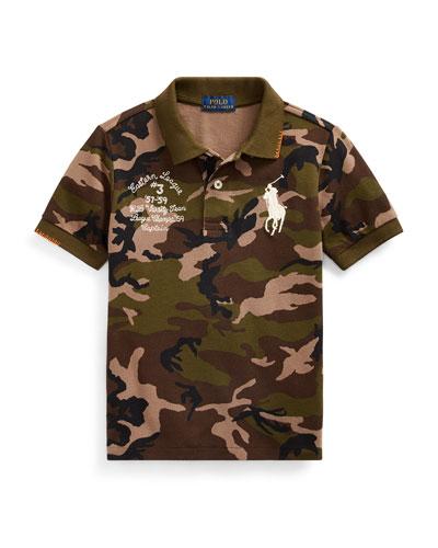 Camo Mesh Polo Shirt w/ Logo Embroidery  Size 2-4