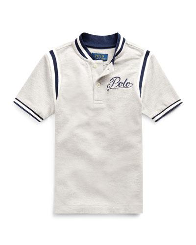 Mesh Knit Striped-Trim Shirt w/ Logo Embroidery  Size 5-7