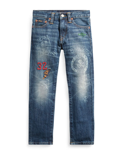 Sullivan Athletic Icons Printed Denim Jeans  Size 5-7