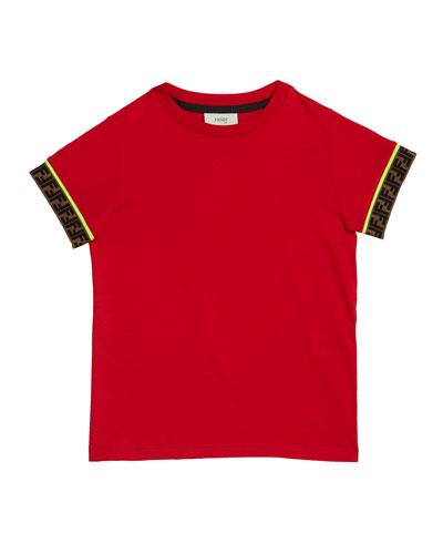 Boy's Short-Sleeve T-Shirt w/ Logo Taping  Size 4-8