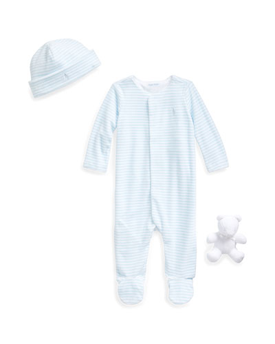 Striped Velour Footie Pajamas w/ Baby Hat & Bear  Size 3-9 Months