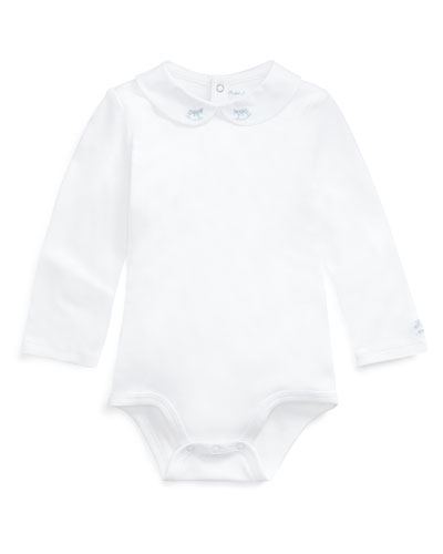 Peter Pan Collar Bodysuit w/ Rocking Horse Embroidery  Size 3-12 Months