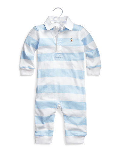 Rugby Striped Jersey Coverall  Size 3-9 Months