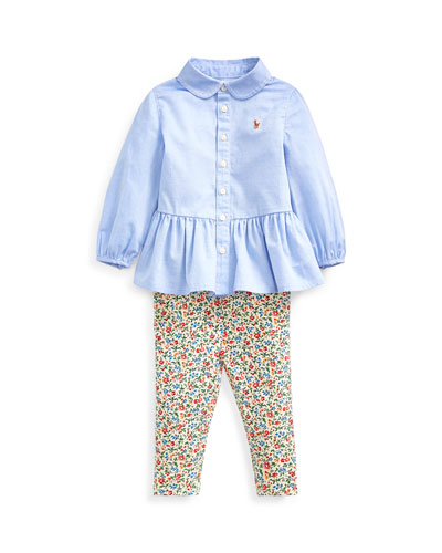 Peplum Oxford Shirt w/ Floral Leggings  Size 6-24 Months
