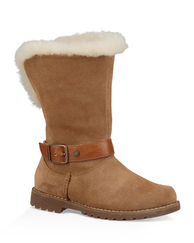 Nessa Suede Boots w/ Exposed Sheepskin Shaft  Baby/Toddler