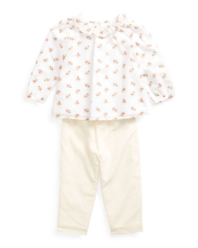 Girl's Floral Print Voile Woven Top w/ Solid Pants  Size 6-24 Months