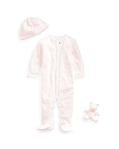 Printed Footie Pajamas w/ Baby Hat & Bear  Size 3-9 Months