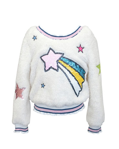 Girl's Sequin Shooting Star Faux Sherpa Top  Size 4-6X