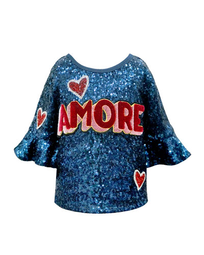 Girl's Amore Sequined Top  Size 4-6X