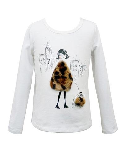 Girl's Faux Fur Trim Graphic Tee  Size 7-14