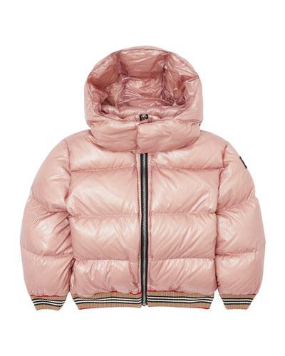 Girl's Josiah Short Puffer Coat w/ Icon Stripe Trim  Size 3-14