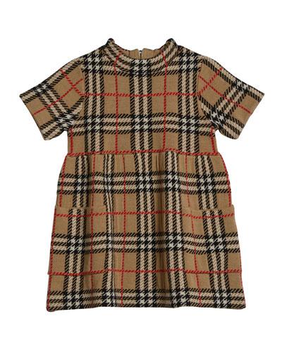 Girl's Mandy Wool Knit Check Dress  Size 12M-2