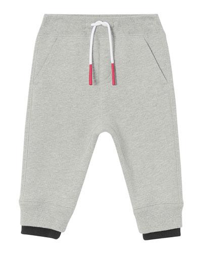 Boy's Double Ribbed Logo Patch Sweatpants  Size 6M-2