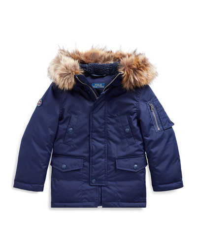 Boy's Military Parka Jacket w/ Faux Fur Trim  Size 5-7