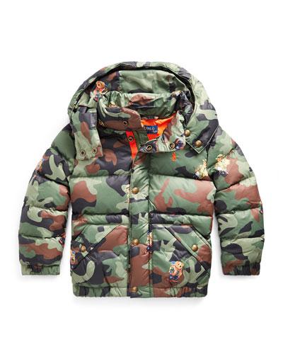 Boy's Camo Bear Print Jacket  Size 5-7