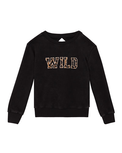 Girls' Washed Keyhole Sweatshirt w/ Applique  Size S-XL