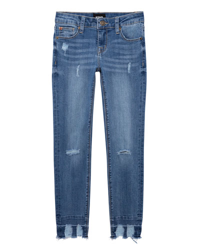 Girl's 5-Pocket Distressed Skinny Jeans with Chewed Hem  Size 7-16