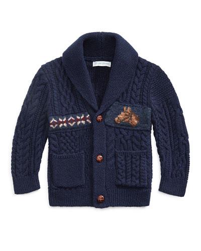 Boy's Merino Wool Blend Patchwork Shawl Cardigan  Size 6-24 Months