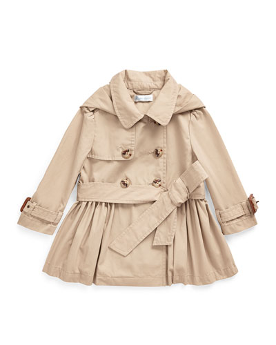 Girl's Hooded Trench Coat  Size 12-24 Months