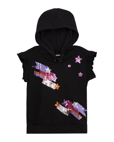 Girls' Shooting Star Sequined Hoodie  Size S-XL