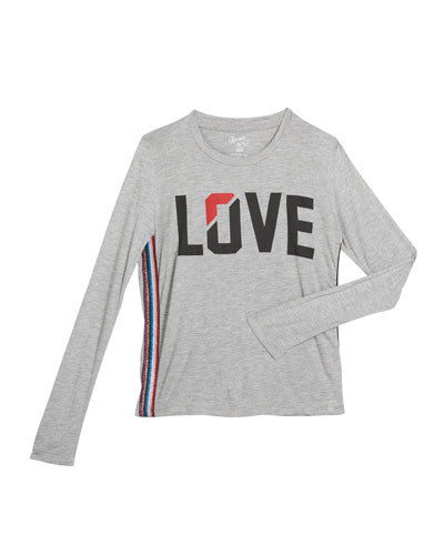 Girl's Love Long-Sleeve Top w/ Metallic Side Taping  Size S-XL