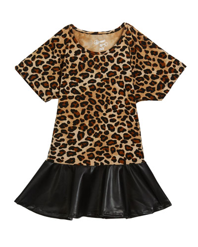 Girl's Leopard Faux Leather Peplum Top  Size S-XL
