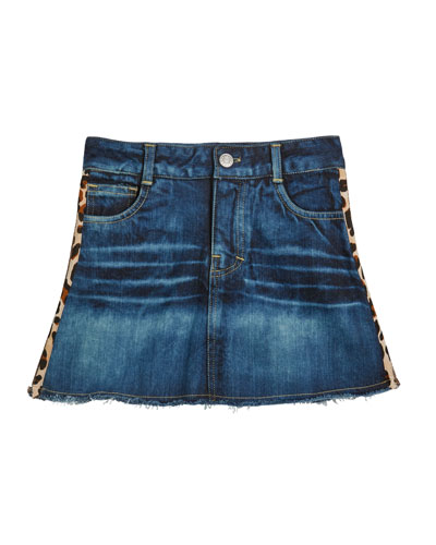 Girl's Denim Skirt w/ Leopard & Glitter Taping  Size S-XL