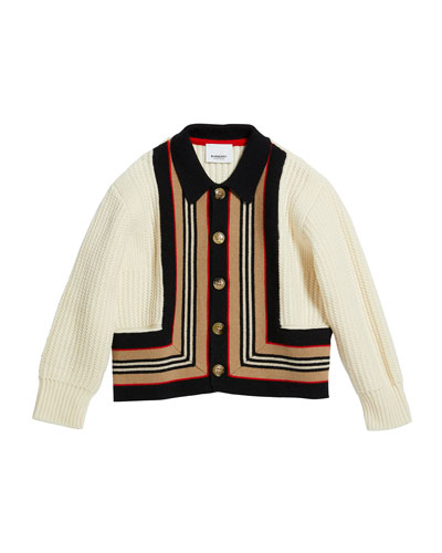 Girl's Oskar Icon Stripe Cardigan  Size 3-14