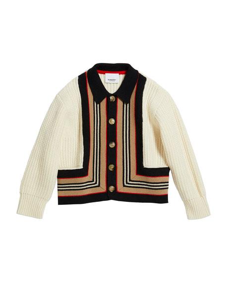 Girl's Oskar Icon Stripe Cardigan, Size 3-14