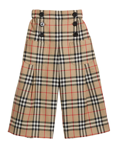 Girl's Taren Check Wide Legs Sailor Pants  Size 3-14