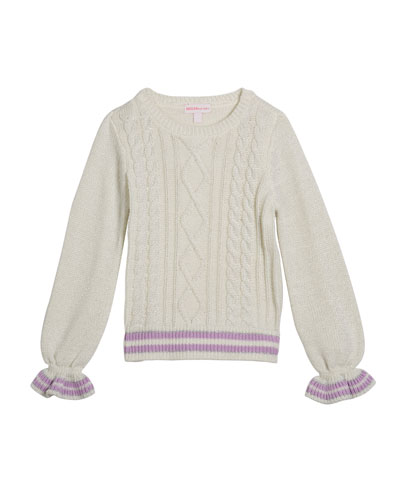 Girl's Lurex Cable Knit Sweater  Size 2-6X
