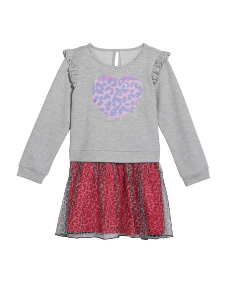 Girl's French Terry Flip Sequin Heart Dress, Size 2-6X