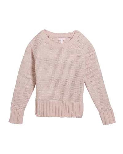 Girl's Chenille Metallic Knit Sweater  Size S-XL