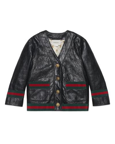 Girl's Web Trim Leather Jacket  Size 6
