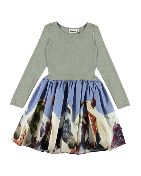 Girl's Casie Ribbed Long-Sleeve Dress w/ Horse Print Skirt, Size 2T-12