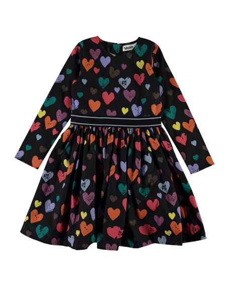 Girl's Christin Long-Sleeve Heart Print Dress, Size 3T-14