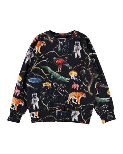 Boy's Mik Tree of Life Print Sweatshirt  Size 4-12