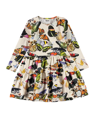 Girl's Chia Butterfly Print Tiered Dress  Size 2T-12