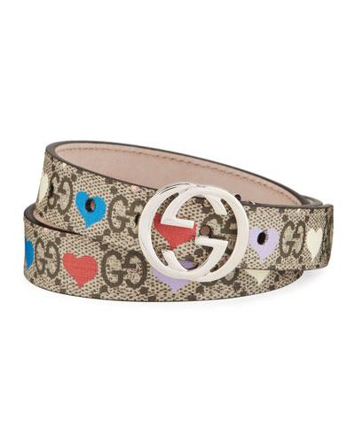 Kid's GG Supreme Hearts Print Belt w/ Interlocking G Buckle
