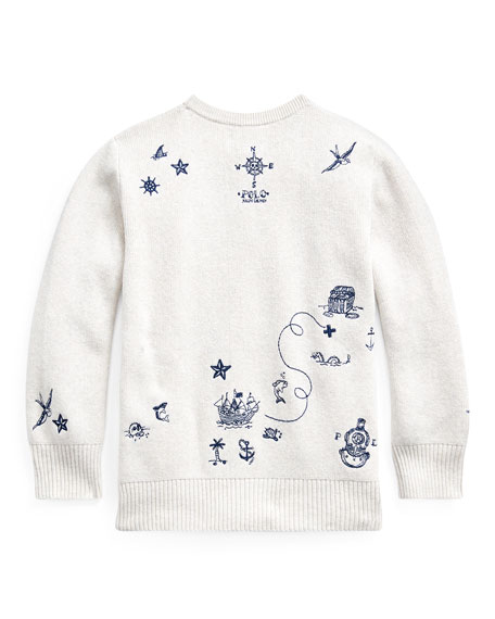 Boy's Nautical Embroidered Sweater, Size 2-4