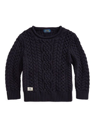 Boy's Aran Cable Knit Sweater  Size 2-4