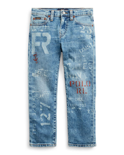 Boy's Logo Print Straight Leg Denim Jeans  Size 5-7
