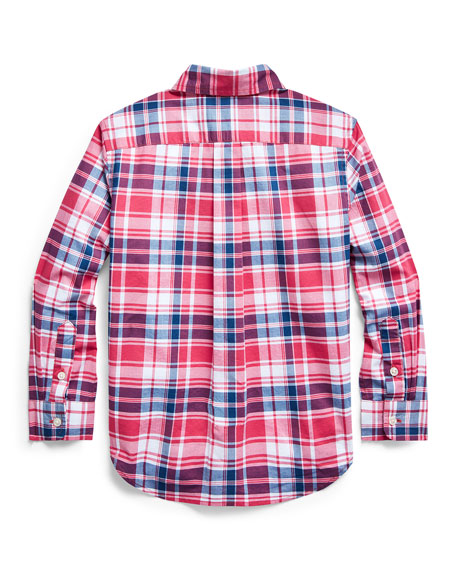 Boy's Plaid Button-Down Collar Shirt, Size 2-4