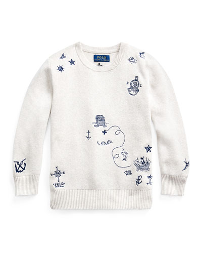 Boy's Nautical Embroidered Sweater  Size 5-7