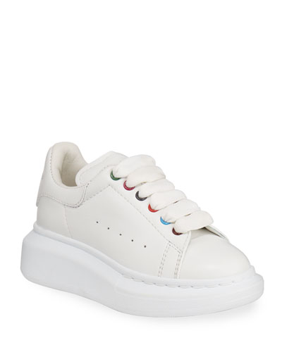 Leather Lace-Up Sneakers w/ Multicolored Grommets  Toddler/Kids