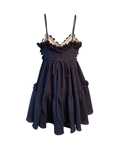 Girl's Laundered Ruffle Trim Sun Dress, Size 7-14