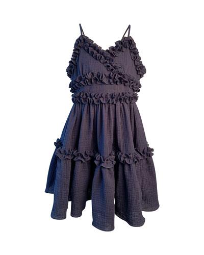 Girl's Laundered Ruffle Trim Sun Dress  Size 7-14